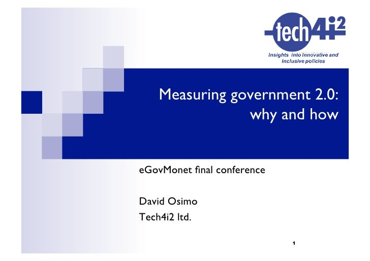 Measuring government 2.0:                 why and how