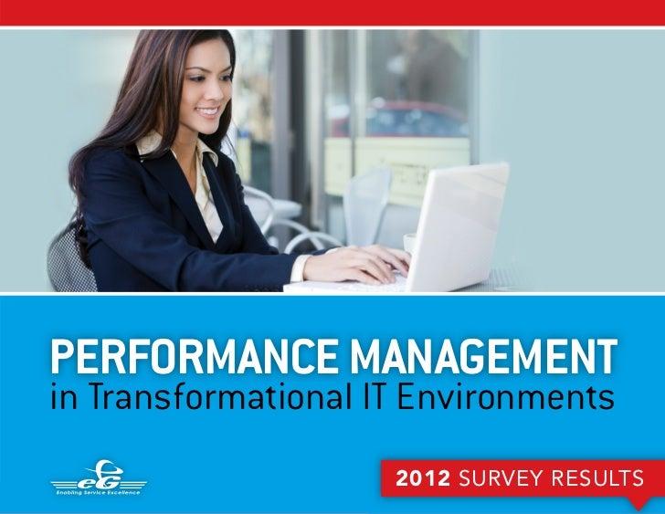 PERFORMANCE MANAGEMENTin Transformational IT Environments                                                          2012 SU...