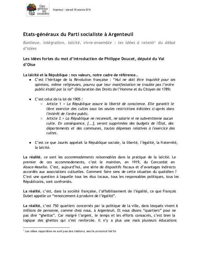 Etats-généraux du Parti socialiste à Argenteuil  Banlieue, intégration, laïcité, vivre-ensemble : les idées à retenir1 du ...