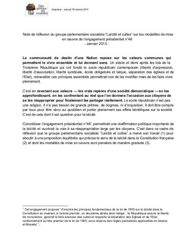 """Note de réflexion du groupe parlementaire socialiste """"Laïcité et cultes"""" sur les modalités de mise  en oeuvre de l'engagem..."""
