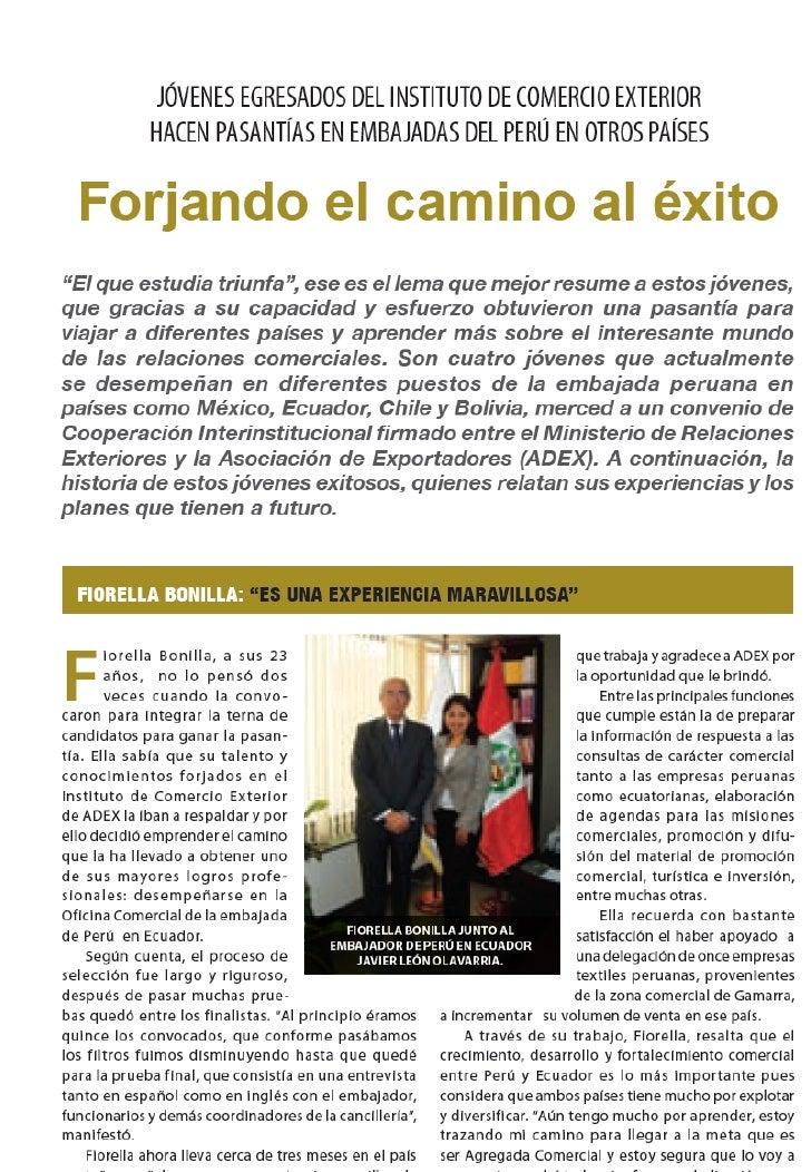 Egresados ADEX Pasantía con Agregados Comerciales - Rev. Perú Exporta Enero 2011