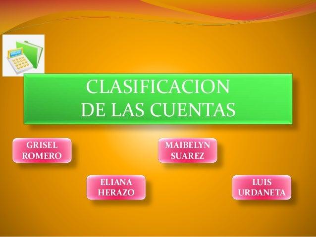 CLASIFICACION DE LAS CUENTAS GRISEL ROMERO  MAIBELYN SUAREZ ELIANA HERAZO  LUIS URDANETA