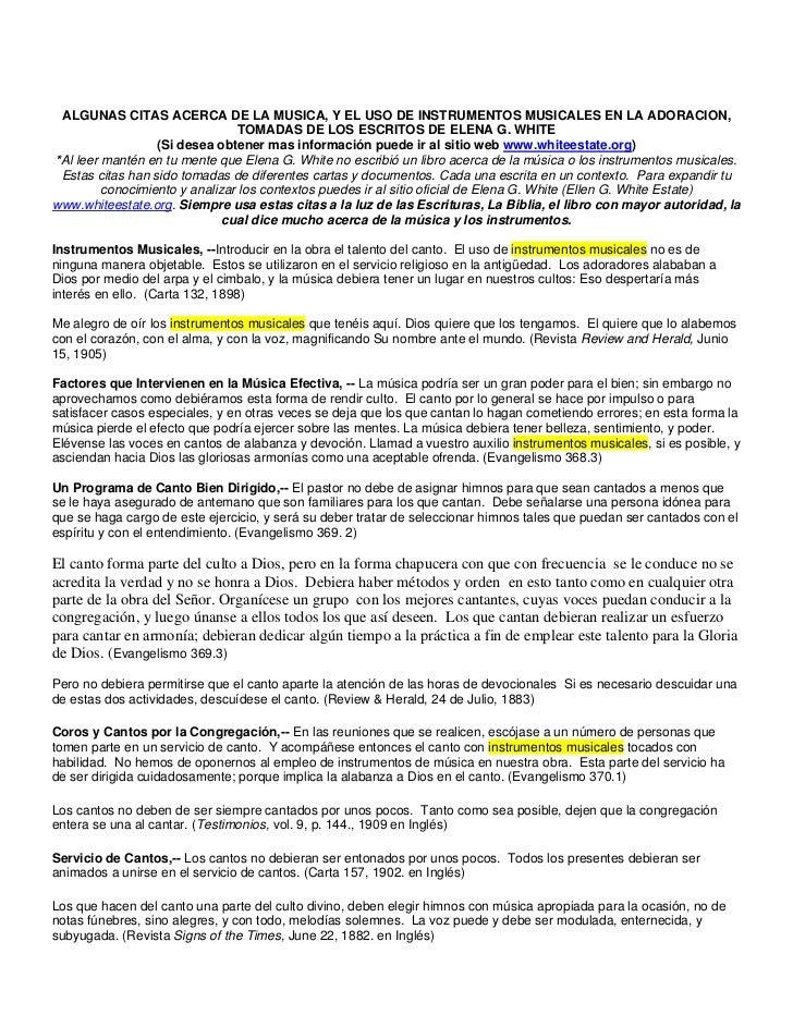 ALGUNAS CITAS ACERCA DE LA MUSICA, Y EL USO DE INSTRUMENTOS MUSICALES EN LA ADORACION,                                TOMA...