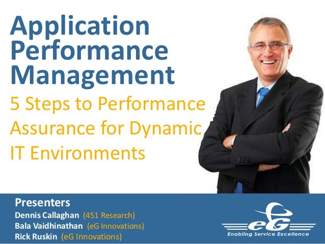 ApplicationPerformanceManagement5 Steps to PerformanceAssurance for DynamicIT EnvironmentsPresentersDennis Callaghan (451 ...
