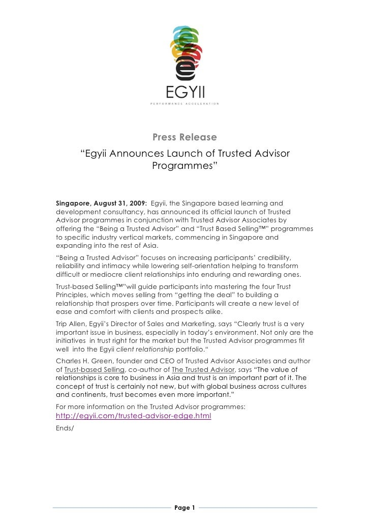 """Press Release         """"Egyii Announces Launch of Trusted Advisor                       Programmes""""   Singapore, August 31,..."""