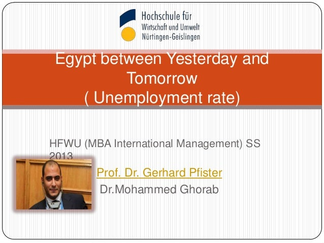HFWU (MBA International Management) SS2013Prof. Dr. Gerhard PfisterDr.Mohammed GhorabEgypt between Yesterday andTomorrow( ...