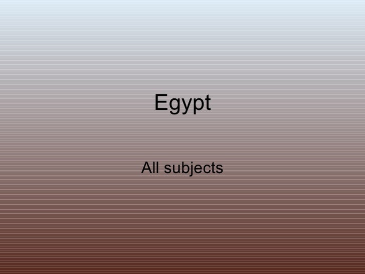 Egypt All subjects