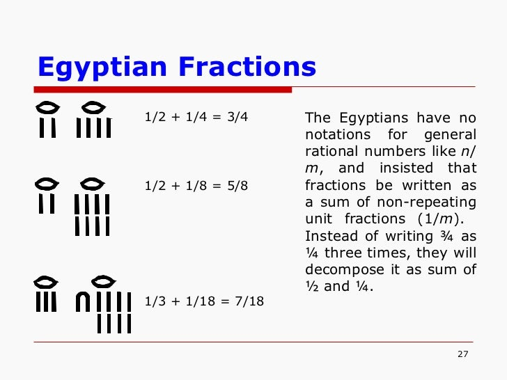 Egyptian Number System Fractions egyptian mathematics