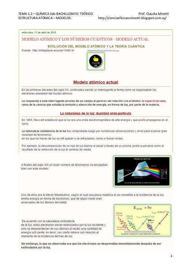 TEMA 1.2 – QUÍMICA 2do BACHILLERATO. TEÓRICO Prof. Claudia Minetti ESTRUCTURA ATÓMICA – MODELOS. http://cienciasfisicascmi...