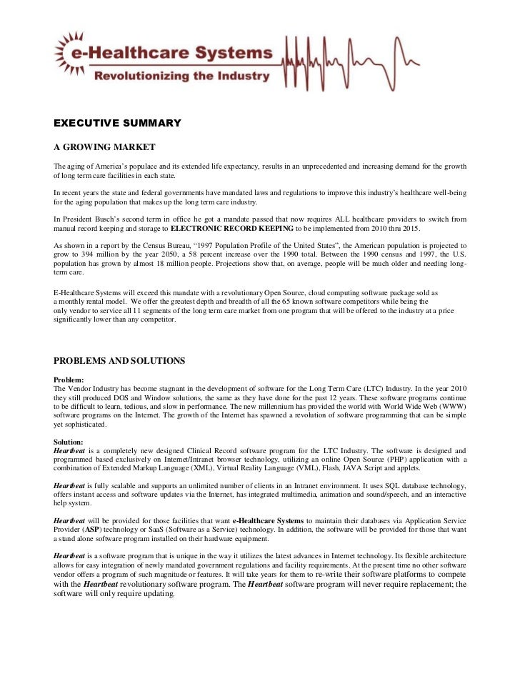 e healthcare systems executive summary sept 2010
