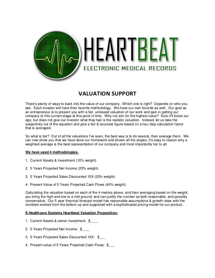 E Healthcare Systems Valuation Support Doc Oct 2010