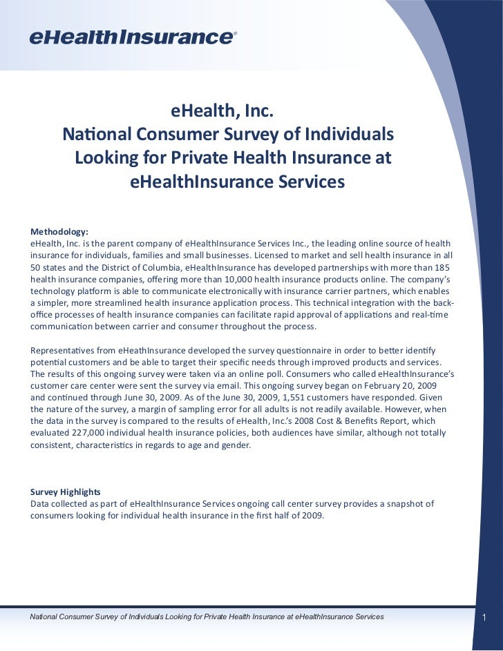 eHealth, Inc.         National Consumer Survey of Individuals          Looking for Private Health Insurance at            ...