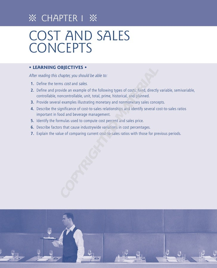 ᨸ       CHAPTER 1                     ᨸCOST AND SALESCONCEPTS• LEARNING OBJECTIVES •                                      ...