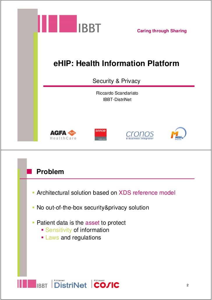Caring through Sharing           eHIP: Health Information Platform                        Security & Privacy              ...