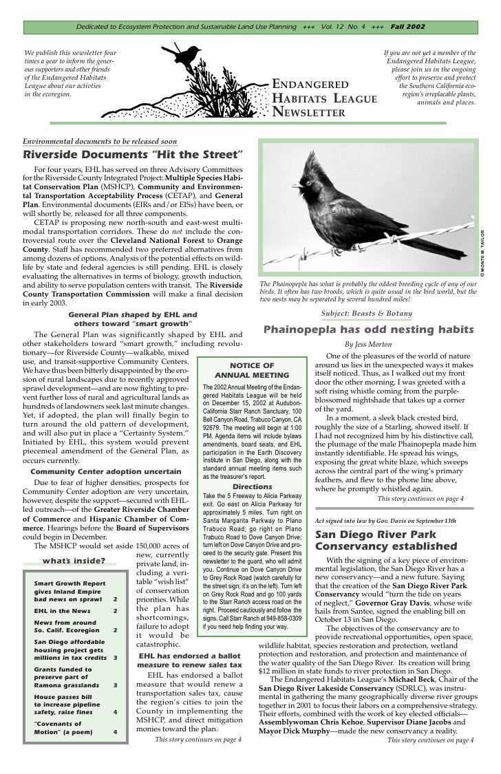 Dedicated to Ecosystem Protection and Sustainable Land Use Planning +++ Vol. 12 No. 4 +++ Fall 2002We publish this newslet...