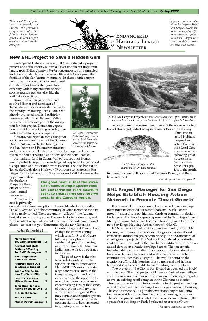 Spring 2002 Endangered Habitats League Newsletter