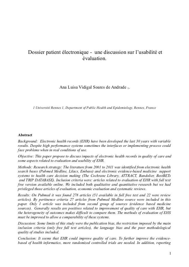 Dossier patient électronique - une discussion sur l'usabilité et                                évaluation.               ...