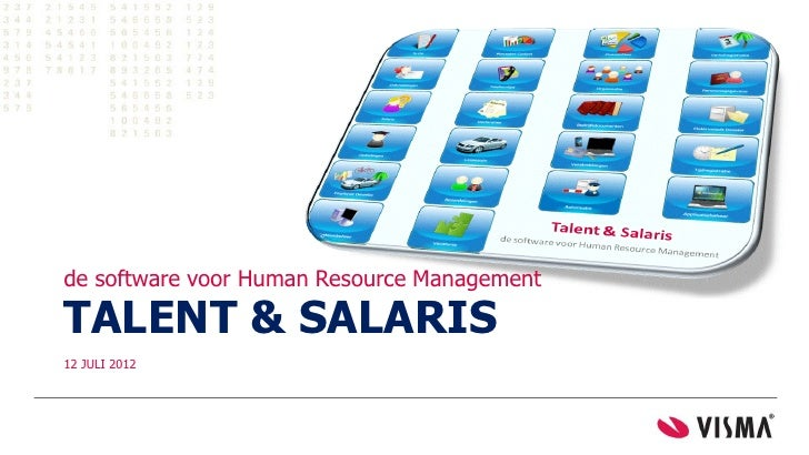 de software voor Human Resource ManagementTALENT & SALARIS12 JULI 2012