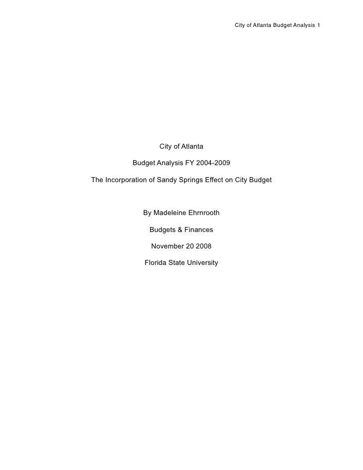 City of Atlanta Budget Analysis 1                          City of Atlanta              Budget Analysis FY 2004-2009  The ...