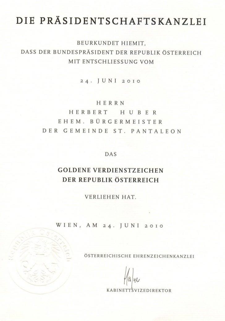 DIE    PRÄSIDENTSCHAFTSKANZLEI                         BEURKUNDET             HIEMIT, DASS   DER    BUNDESPRÄSIDENT       ...