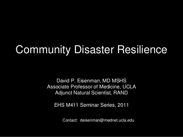 Community Resilience for the Environmental Health officer