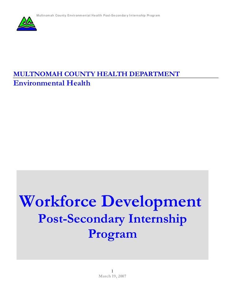 Environmental Health Workforce Development Post Secondary Internship Program