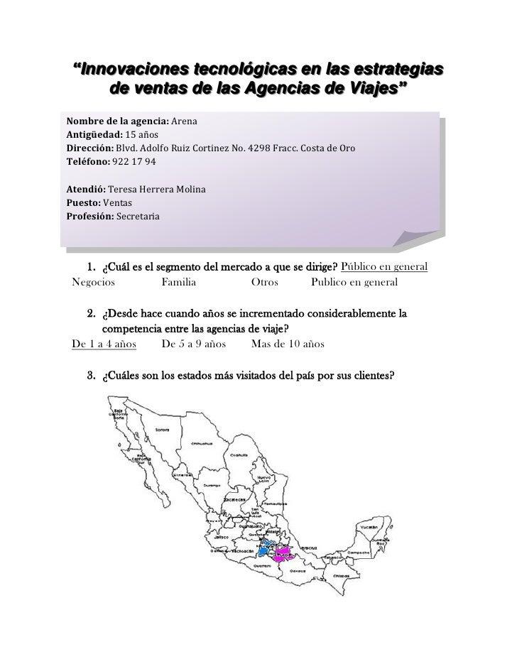"""""""Innovaciones tecnológicas en las estrategias de ventas de las Agencias de Viajes""""<br />Nombre de la agencia: ArenaAntigüe..."""