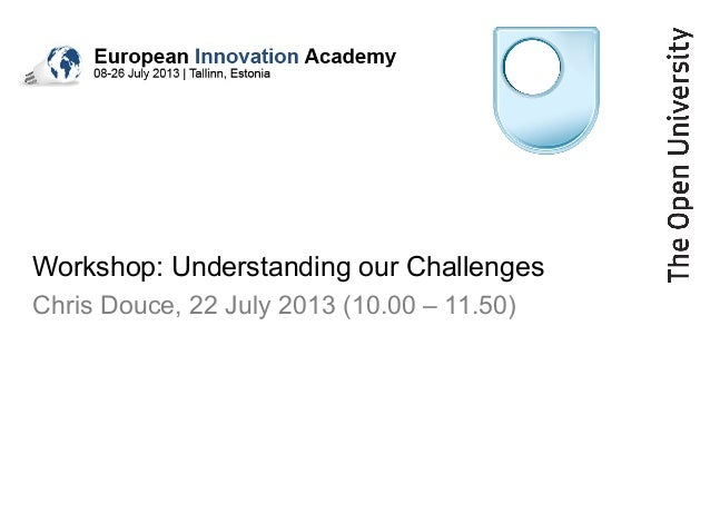 Workshop: Understanding our Challenges Chris Douce, 22 July 2013 (10.00 – 11.50)