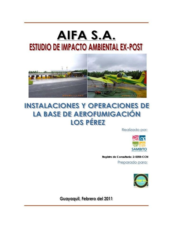 AIFA S.A. - Estudio de Impacto Ambiental Ex-Post