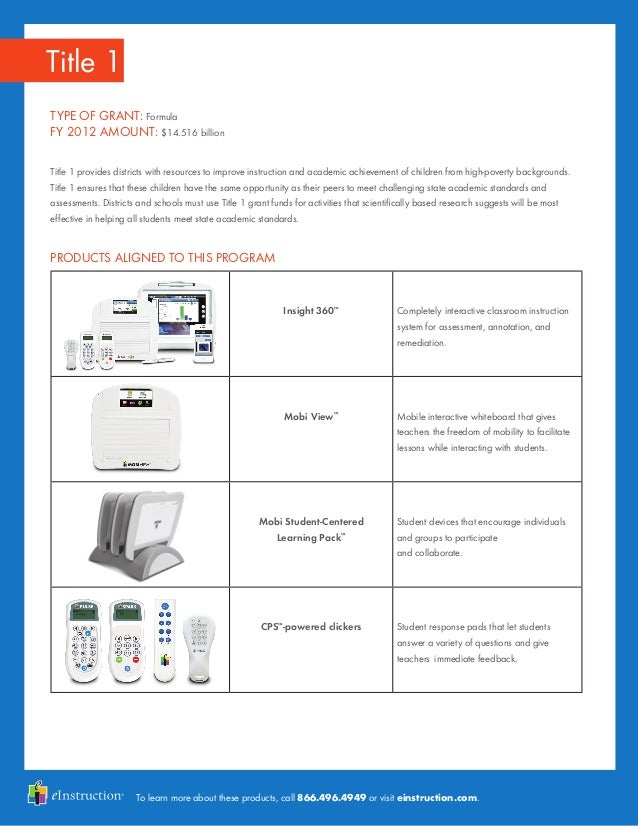 To learn more about these products, call 866.496.4949 or visit einstruction.com. Title 1 TYPE OF GRANT: Formula FY 2012 AM...