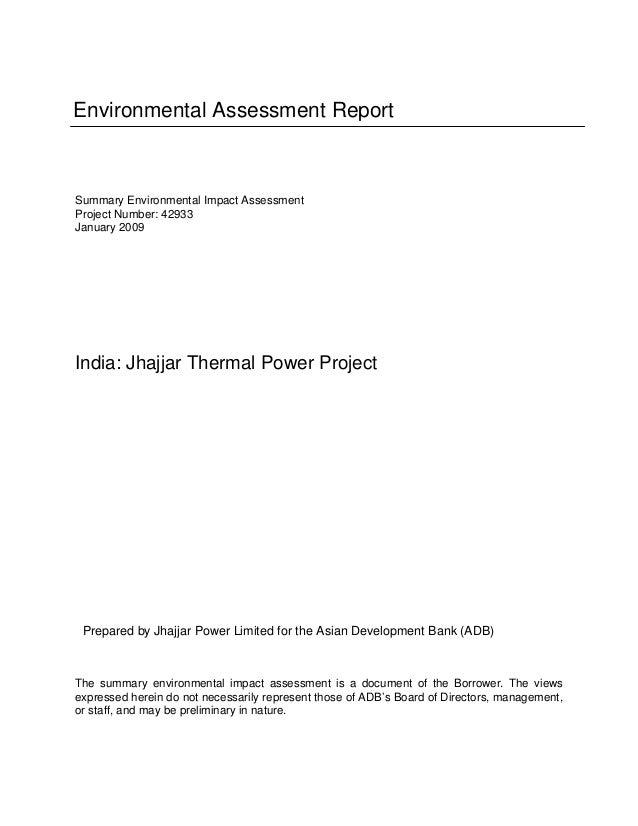 Environmental Assessment Report  Summary Environmental Impact Assessment Project Number: 42933 January 2009  India: Jhajja...