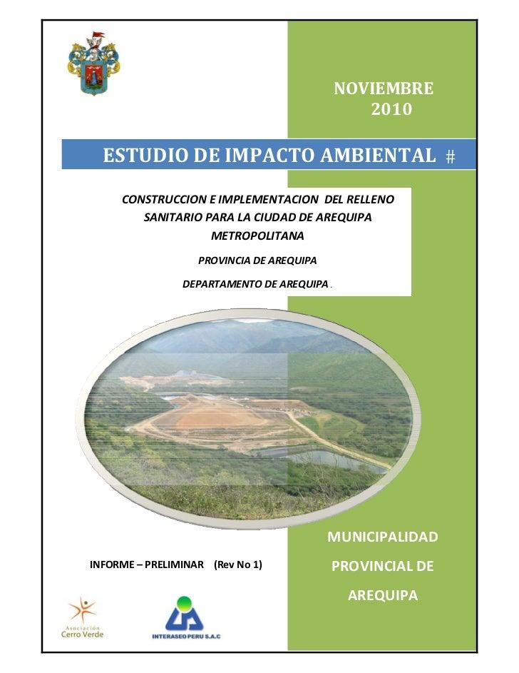 Estudio de Impacto Ambiental del Proyecto Construcción e Implementación del Relleno Sanitario para la ciudad de Arequipa Metropolitana