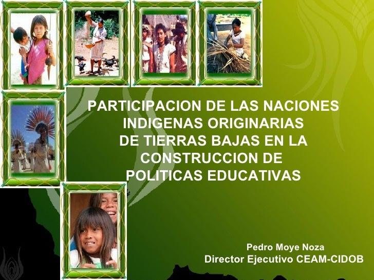 PARTICIPACION DE LAS NACIONES INDIGENAS ORIGINARIAS  DE TIERRAS BAJAS EN LA  CONSTRUCCION DE  POLITICAS EDUCATIVAS Pedro M...