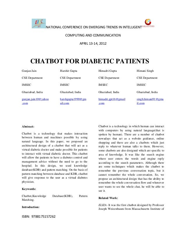 Research Paper On Chatbot for Diabetic Patient