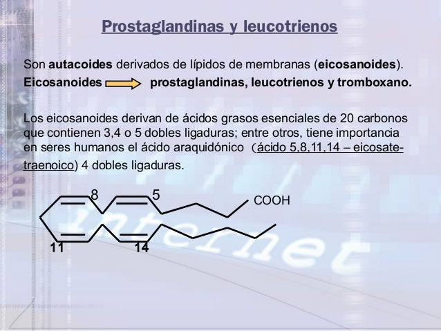 Prostaglandinas y leucotrienosSon autacoides derivados de lípidos de membranas (eicosanoides).Eicosanoides prostaglandinas...