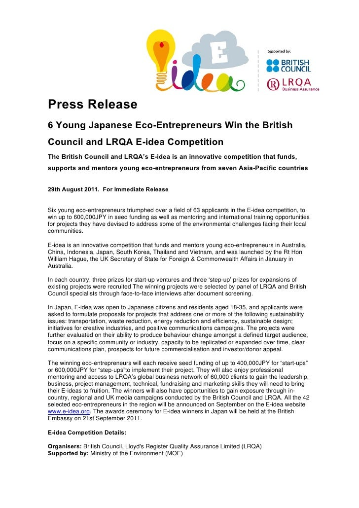Press Release6 Young Japanese Eco-Entrepreneurs Win the BritishCouncil and LRQA E-idea CompetitionThe British Council and ...