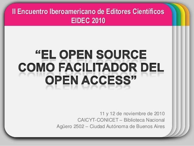 II Encuentro Iberoamericano de Editores Científicos EIDEC 2010  WINTER Template  11 y 12 de noviembre de 2010 CAICYT-CONIC...
