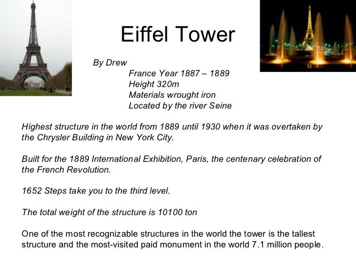 Eiffel Tower                   By Drew                             France Year 1887 – 1889                             Hei...