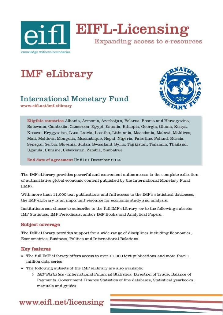 EIFL-Licensing                                       Expanding access to e-resourcesIMF eLibraryInternational Monetary Fun...