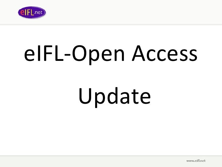 eIFL Open Access: Update