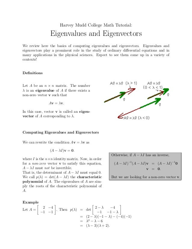 Harvey Mudd College Math Tutorial:                 Eigenvalues and EigenvectorsWe review here the basics of computing eige...