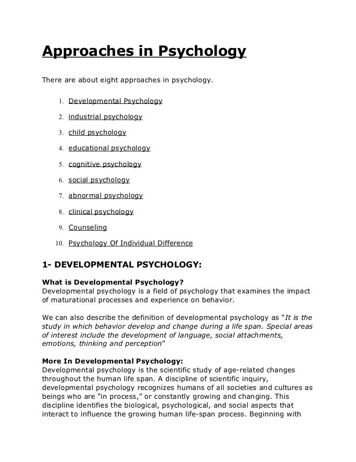 Eight Approaches Of Psychology