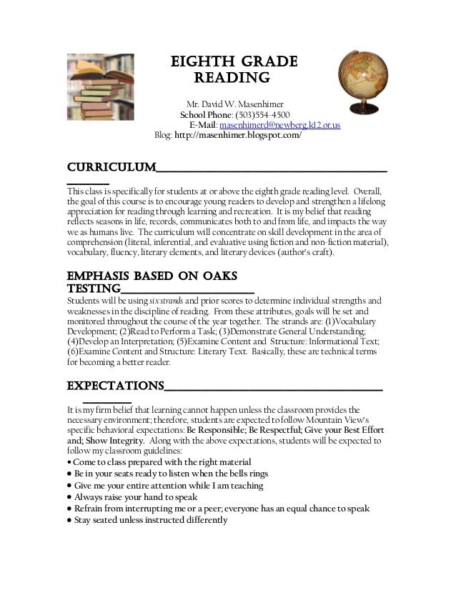 Eighth gradE rEading Mr. David W. Masenhimer School Phone: (503)554-4500 E-Mail: masenhimerd@newberg.k12.or.us Blog: http:...