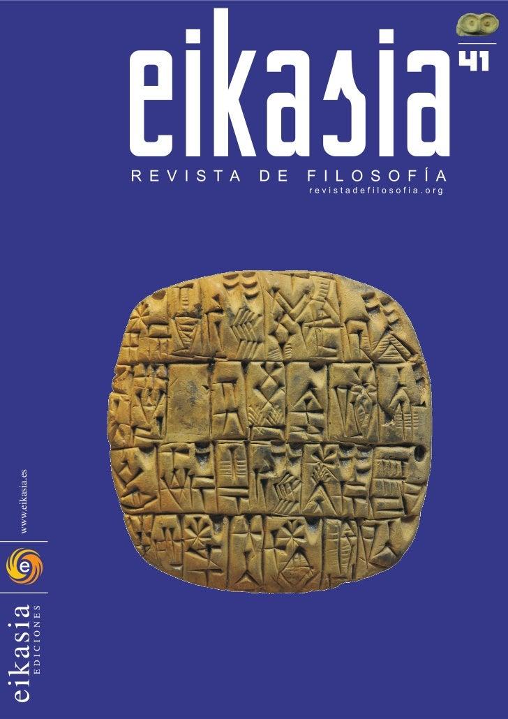 Eikasia nº 41  revista de filosofía   oviedo 2011: artículos de félix duque y adolfo vásquez rocca