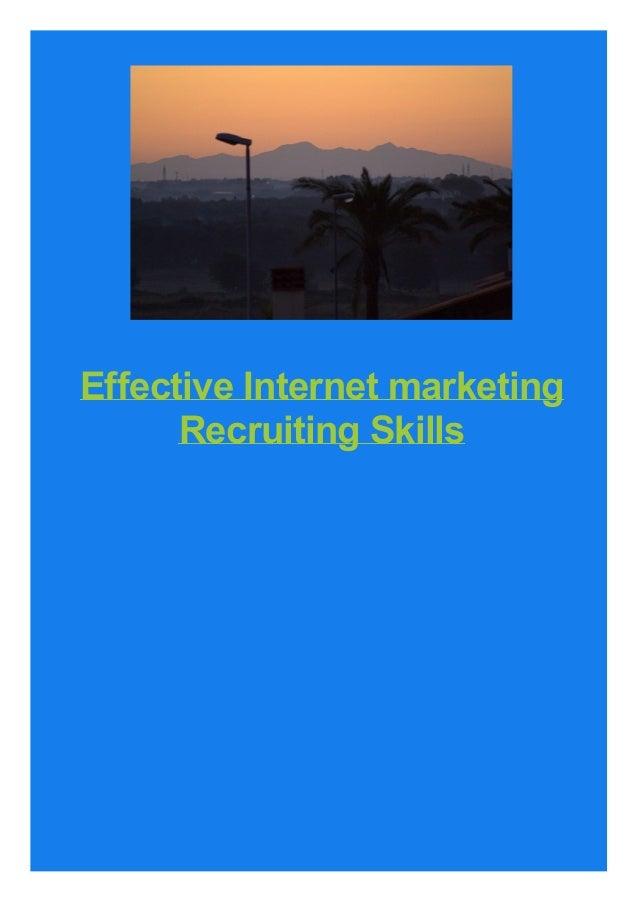 Effective Internet marketing Recruiting Skills