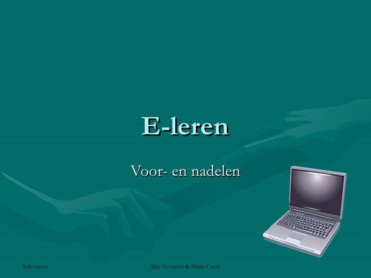 E-leren Voor- en nadelen
