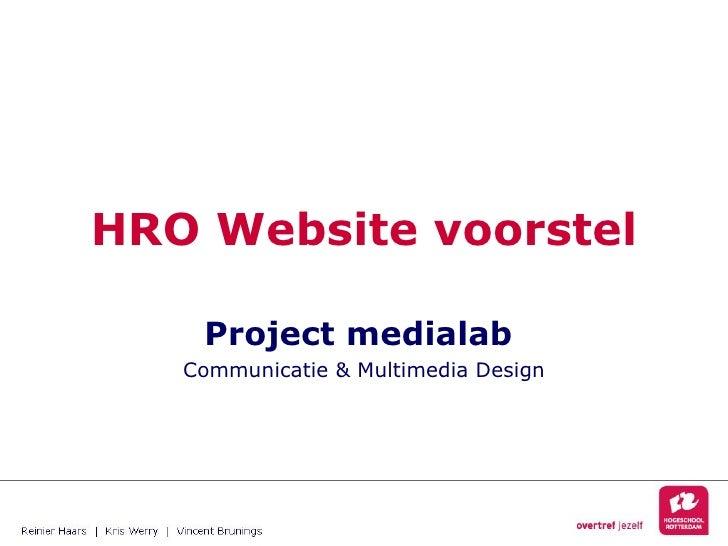 HRO Website voorstel Project medialab  Communicatie & Multimedia Design