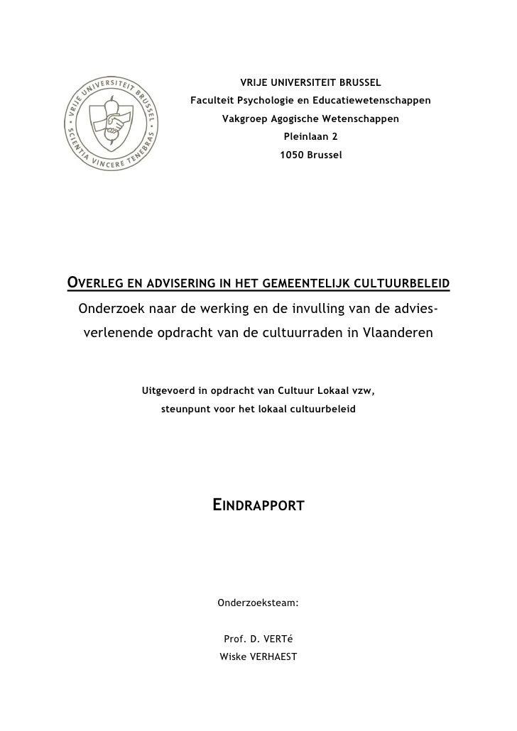VRIJE UNIVERSITEIT BRUSSEL                    Faculteit Psychologie en Educatiewetenschappen                          Vakg...