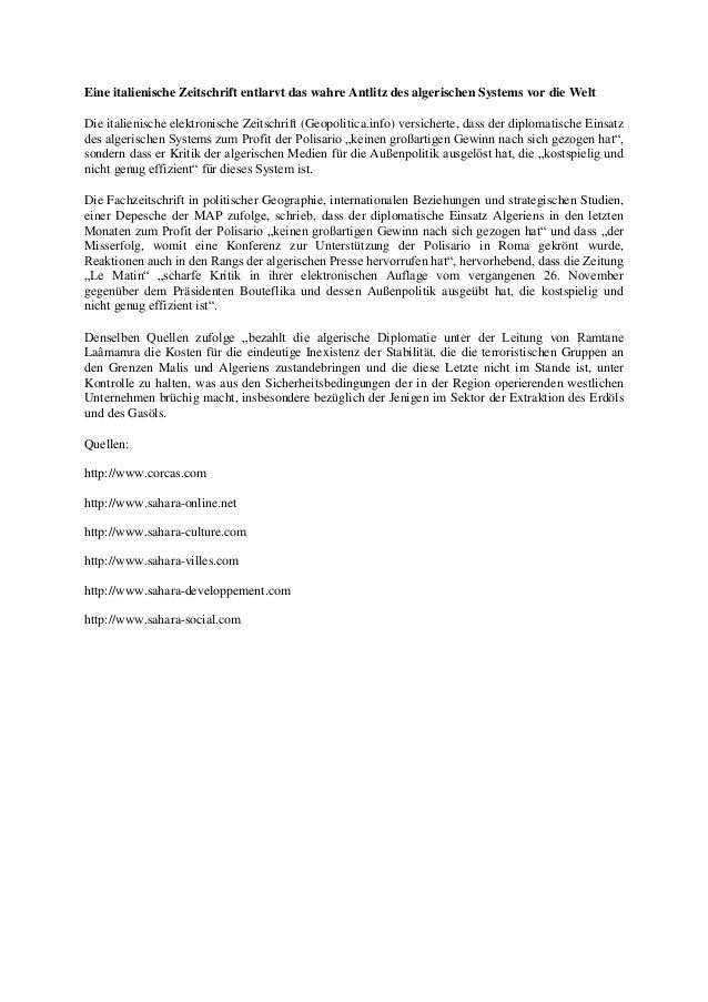 Eine italienische Zeitschrift entlarvt das wahre Antlitz des algerischen Systems vor die Welt Die italienische elektronisc...