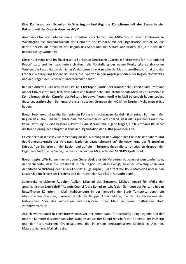 Eine Konferenz von Experten in Washington bestätigt die Komplizenschaft der Elemente derPolisario mit der Organisation der...